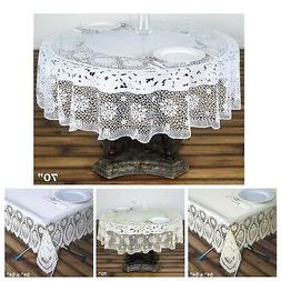 0.6 mil Thick Lace Vinyl Eco-Friendly Round Tablecloth Prote