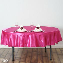 "Fuchsia Fushia 90"" ROUND Satin TABLECLOTH Wedding Kitchen Ta"