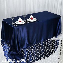 "1 pc Navy Blue 90x132"" RECTANGLE Satin TABLECLOTH Wedding Pa"