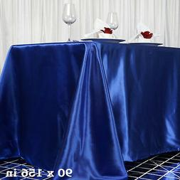 "1 pc Royal Blue 90x156"" RECTANGLE Satin TABLECLOTH Wedding P"