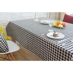 1 Pc Tablecloth Black and White Plaids Table Cover Table Run