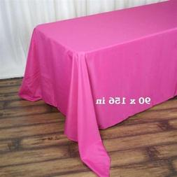 "10 Pack Fuchsia 90x156"" Polyester Rectangle Seamless Tablecl"