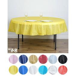 "10 pcs 84"" Disposable Plastic Round Table Covers Tablecloths"