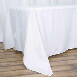 "10 Pk White 72x120""  Polyester Rectangle Seamless Tablecloth"