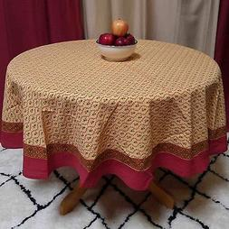 "Handmade 100% Cotton Floral Vine 60"" Round Tablecloth Gold R"