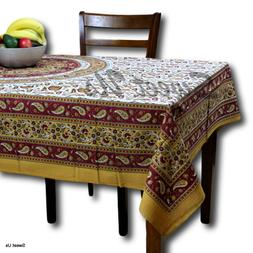 Handmade 100% Cotton Paisley Mandala Tablecloth Tapestry Cov