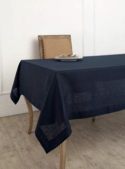 Solino Home 100% Linen Tablecloth - 60 x 120 Inch Navy, Natu