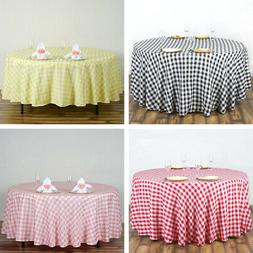 108-Inch ROUND Checked Gingham Polyester Tablecloth Dinner W