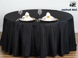 108 inch Round Polyester Tablecloth Black