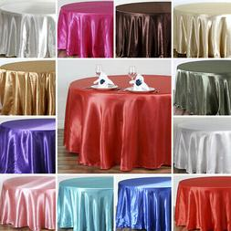 108-Inch ROUND SATIN TABLECLOTH Dinner Wedding Party Linens