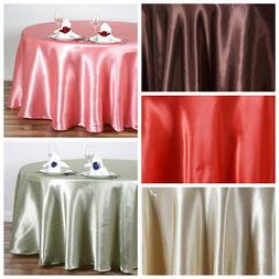 """108"""" Round SATIN Tablecloth Wedding Party Dining Catering Ta"""