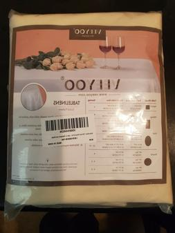 """VEEYOO 108"""" Round Tablecloth Linen Table Cover for Buffet Pa"""