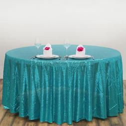 """108"""" Turquoise SEQUIN ROUND TABLECLOTH Wedding Party Caterin"""