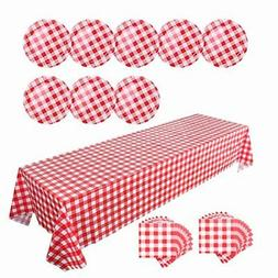 "108""x 54"" Checkered Plastic Tablecloth Set with Disposable P"
