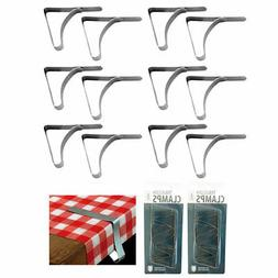 12 Pc Stainless Steel Table Cloths Picnic Clamps Cover Clip