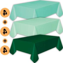 12 Plastic Tablecloths - Aqua, Mint, Forest Green - Premium