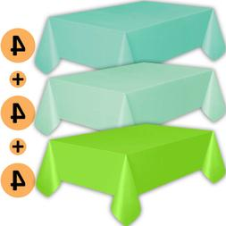 12 Plastic Tablecloths - Aqua, Mint, Lime Green - Premium Th