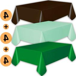 12 Plastic Tablecloths - Brown, Mint, Emerald Green - Premiu