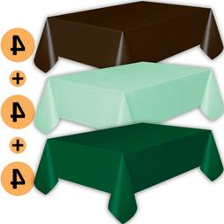 12 Plastic Tablecloths - Brown, Mint, Forest Green - Premium
