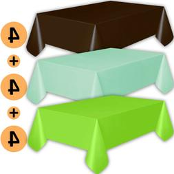 12 Plastic Tablecloths - Brown, Mint, Lime Green - Premium T