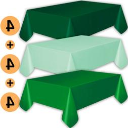 12 Plastic Tablecloths - Forest Green, Mint, Emerald Green -