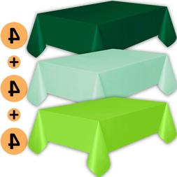 12 Plastic Tablecloths - Forest Green, Mint, Lime Green - Pr