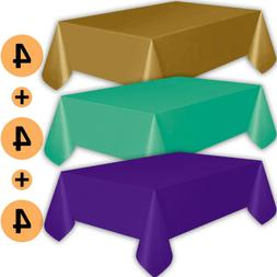 12 Plastic Tablecloths - Gold, Teal, Purple - Premium Thickn