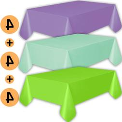 12 Plastic Tablecloths - Lavender, Mint, Lime Green - Premiu
