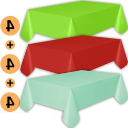 12 Plastic Tablecloths - Lime Green, Red, Mint - Premium Thi