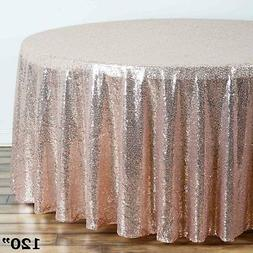 """120"""" Blush SEQUIN ROUND TABLECLOTH Wedding Party Catering Re"""