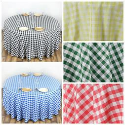 """120"""" Checkered Gingham Polyester Round Tablecloth WEDDING PA"""