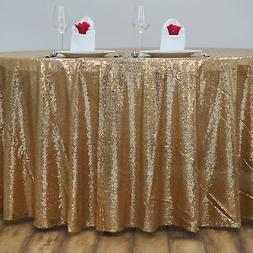 """120"""" Gold SEQUIN ROUND TABLECLOTH Wedding Party Catering Rec"""