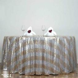"""120"""" Gold Stripped SEQUIN ROUND TABLECLOTH Wedding Party Rec"""