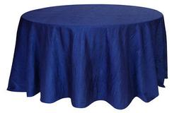 120 Inch Round Crinkle Taffeta Tablecloth Navy Blue,Crushed