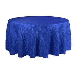 120 Inch Round Crinkle Taffeta Tablecloth Royal Blue,Crushed