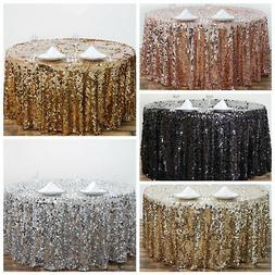 """120"""" Large Payette Sequin Round Tablecloth Wedding Linens Dt"""