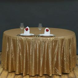 """120"""" Round Gold Sequin Tablecloth Wedding Birthday Party Ban"""