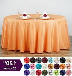 "120"" Round Polyester Tablecloth Wedding Table Linens Decorat"