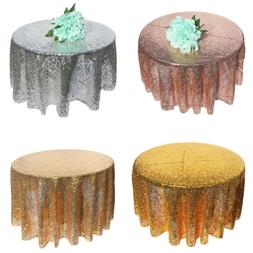 4Colors Sparkly Sequin Tablecloth Dia 120cm Wedding Event Pa