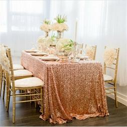 125X200cm Sequin Rectangle Tablecloth Rose Gold Sequin Overl