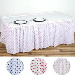 "14 ft x 29"" Plastic Polka Dots Disposable TABLE SKIRT Party"