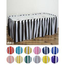 """14 ft x 29"""" Plastic Stripe Disposable TABLE SKIRT Party Wedd"""