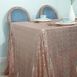 140x140cm Sparkly Rose Gold Sequin Square Table Cloth Fabric