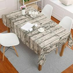 2pcs Wood Grain Tablecloth Rustic Rectangle Washable Table C
