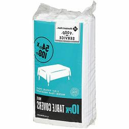 Daily Chef 3-Ply Disposable Table Cover, 54 x 108, White, 10