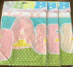 MTC 3 DISPOSABLE BABY PINK BLUE GREEN YELLOW TABLECLOTH RECT