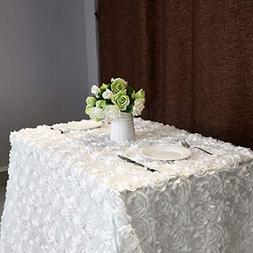 """B-COOL 3d floral tablecloth Rectangular 60""""x102"""" White Table"""