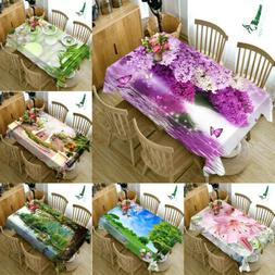 3D Nature Floral print Tablecloth New Home Kitchen Dinner De
