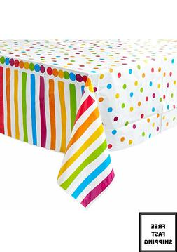 4 Pack of Rainbow Polka Dot Carnival Birthday Party Tableclo