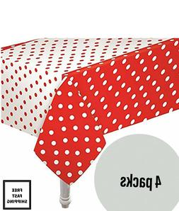 4 Pack of Red Polka Dot Plastic Carnival Birthday Party Tabl